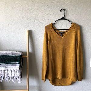 Mustard Burnt Orange Knit B Neck Sweater